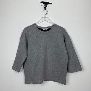 Everlane Gray Boxy Crop Structured Sweatshirt